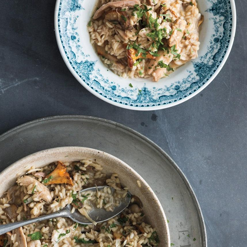 """The best leftover risotto has turkey and wild mushrooms, the grains of rice plump with turkey broth and made nutty with cheese. <a href=""""https://www.epicurious.com/recipes/food/views/turkey-and-mushroom-risotto-51122690?mbid=synd_yahoo_rss"""" rel=""""nofollow noopener"""" target=""""_blank"""" data-ylk=""""slk:See recipe."""" class=""""link rapid-noclick-resp"""">See recipe.</a>"""