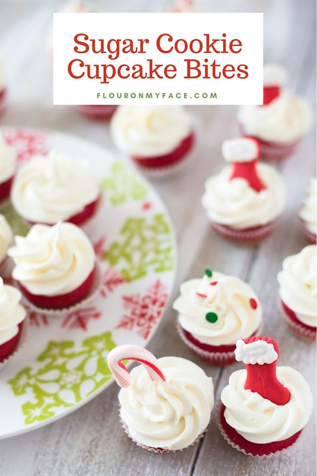 """<p>Three great tastes together: This cupcake is a layer of sugar cookie topped with red cupcake, then frosted!</p><p><em><a href=""""https://flouronmyface.com/sugar-cookie-cupcake-bites/"""" target=""""_blank"""">Get the recipe from Flour on My Face »</a></em></p>"""