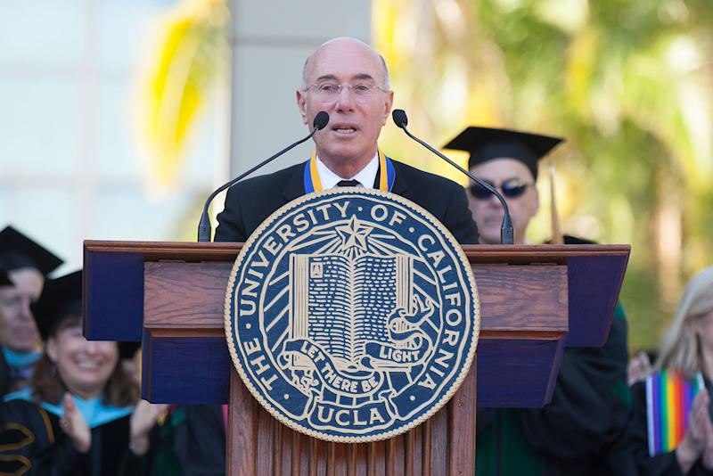 David Geffen receives the UCLA Medal During UCLA's Hippocratic Oath Ceremony at UCLA Campus on May 30, 2014 in Westwood, California. | Gabriel Olsen—Getty Images.