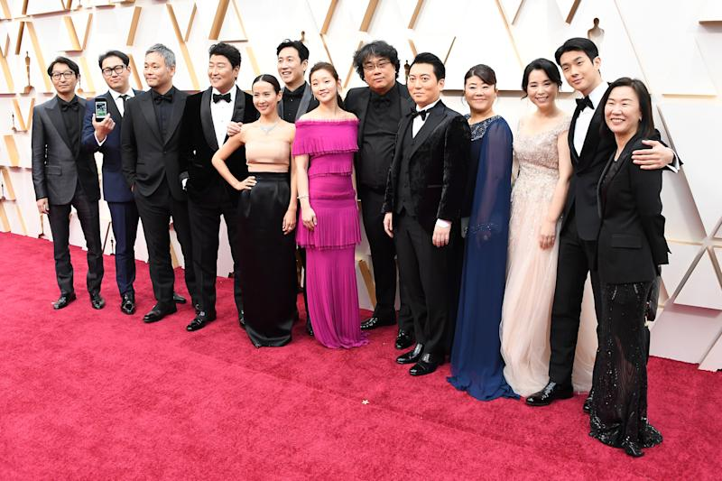 HOLLYWOOD, CALIFORNIA - FEBRUARY 09: Parasite cast and crew attends the 92nd Annual Academy Awards at Hollywood and Highland on February 09, 2020 in Hollywood, California. (Photo by Steve Granitz/WireImage)