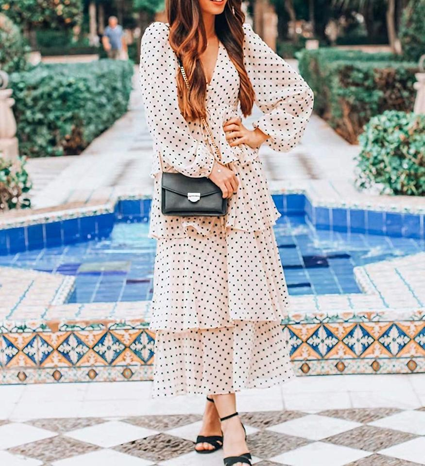 "<p>This cute and flattering <a href=""https://www.popsugar.com/buy/RVivimos-Chiffon-Polka-Dot-Layered-Midi-Dress-553592?p_name=R.Vivimos%20Chiffon%20Polka-Dot%20Layered%20Midi%20Dress&retailer=amazon.com&pid=553592&price=29&evar1=fab%3Auk&evar9=47291480&evar98=https%3A%2F%2Fwww.popsugar.com%2Ffashion%2Fphoto-gallery%2F47291480%2Fimage%2F47291623%2FRVivimos-Chiffon-Polka-Dot-Layered-Midi-Dress&list1=shopping%2Camazon%2Cspring%20fashion%2Cfashion%20shopping&prop13=api&pdata=1"" rel=""nofollow"" data-shoppable-link=""1"" target=""_blank"" class=""ga-track"" data-ga-category=""Related"" data-ga-label=""https://www.amazon.com/R-Vivimos-Womens-Sleeve-Chiffon-Layered/dp/B0859WKD1X?ref_=ast_bbp_dp&amp;th=1&amp;psc=1"" data-ga-action=""In-Line Links"">R.Vivimos Chiffon Polka-Dot Layered Midi Dress</a> ($29) also comes in black.</p>"