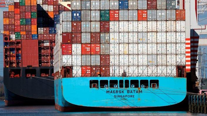 The container ship Maersk Batam is loaded in the Port of Southampton.