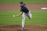 Boston Red Sox starting pitcher Chris Sale follows through on a pitch during the first inning of a baseball game against the Baltimore Orioles, Tuesday, Sept. 28, 2021, in Baltimore. (AP Photo/Nick Wass)