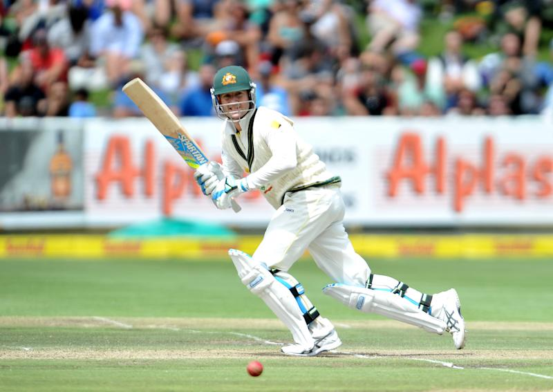 Australia's Michael Clarke bats on the second day of the third Test against South Africa in Cape Town on March 2, 2014