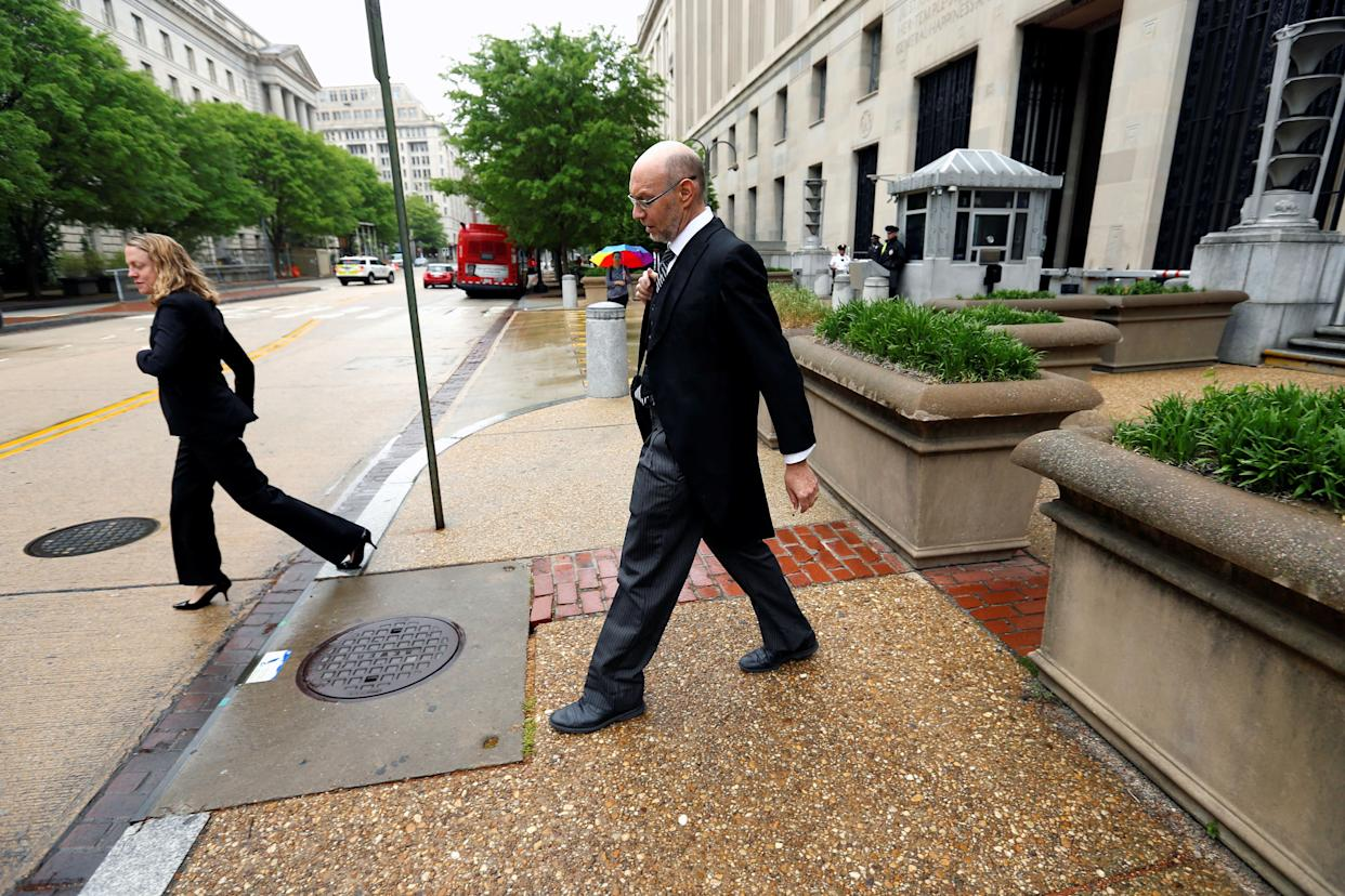 U.S. Deputy Solicitor General Michael Dreeben departs the U.S. Justice Department in traditional morning coat on his way to argue his one-hundredth case before the U.S. Supreme Court in Washington, U.S. April 27, 2016.
