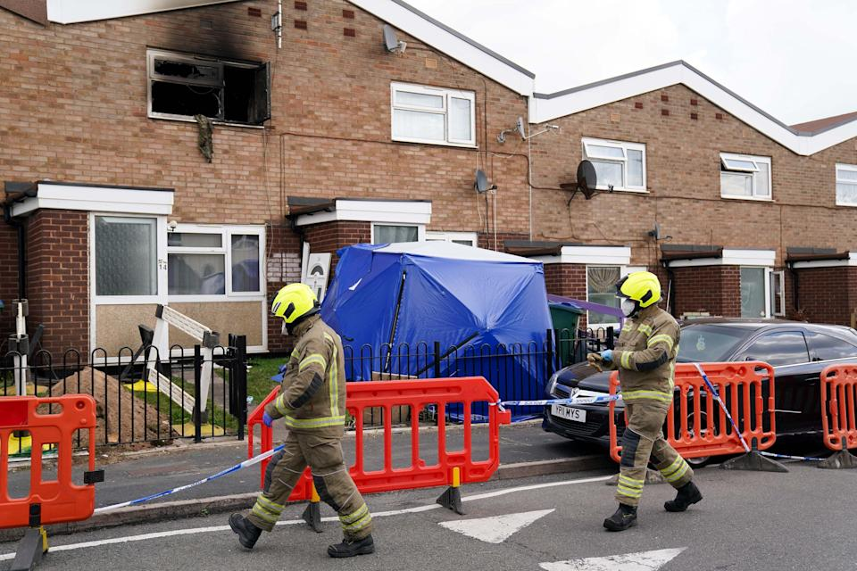 Firefighters at a property on Tame Road in Tipton (Jacob King/PA) (PA Wire)