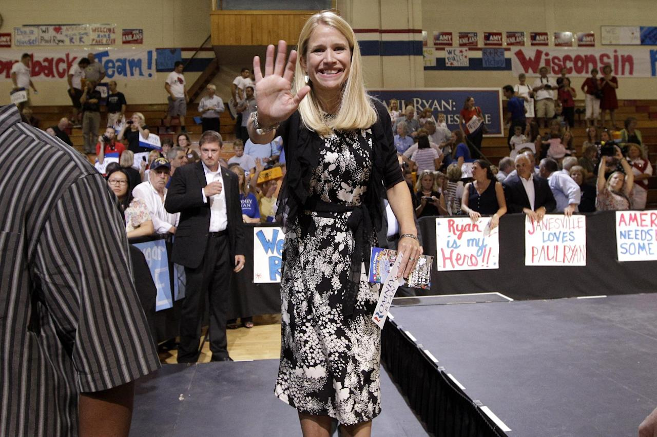 Janna Ryan wife of Republican vice presidential candidate, Rep. Paul Ryan, R-Wis. greets supporters during a campaign event at Joseph A. Craig High School, Monday, Aug. 27, 2012, in Janesville, Wis. (AP Photo/Mary Altaffer)