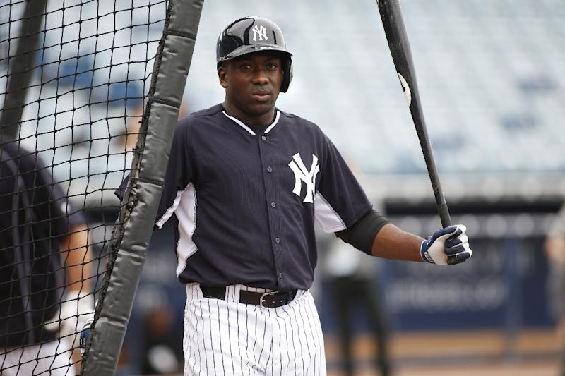 Infielder Jose Pirela #63 of the New York Yankees participates in a spring training workout on February 26, 2015 in Tampa, Florida