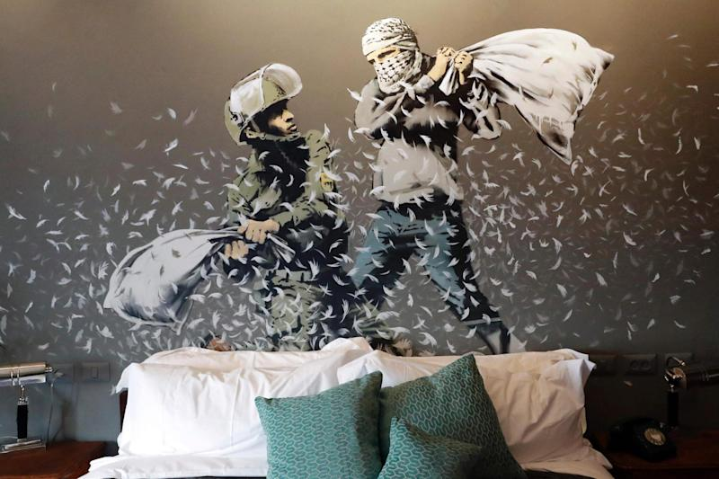 Bethlehem: Artwork from graffiti artist Banksy decorates the hotel's nine rooms: AFP/Getty Images