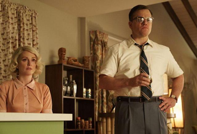 Julianne Moore as Margaret Lodge and Matt Damon as Gardner Lodge, two 1950s suburbanites, in <em>Suburbicon</em> (Photo: Hilary Bronwyn Gayle/Paramount Pictures)