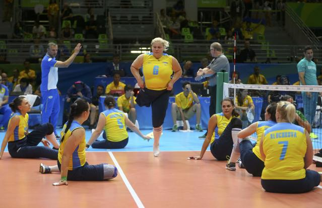 2016 Rio Paralympics - Sitting Volleyball - Women's Bronze Match - Riocentro Pavilion 6 - Rio de Janeiro, Brazil, 17/09/2016. Ilona Yudina (UKR) of Ukraine enters the match. REUTERS/Pilar Olivares FOR EDITORIAL USE ONLY. NOT FOR SALE FOR MARKETING OR ADVERTISING CAMPAIGNS.