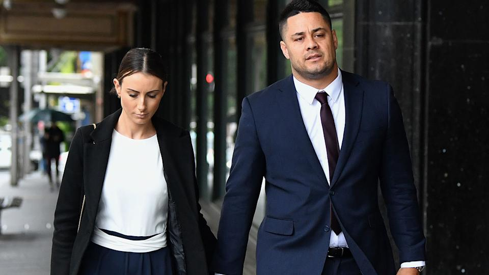 Jarryd Hayne, pictured here arriving at Downing Centre District Court in Sydney.