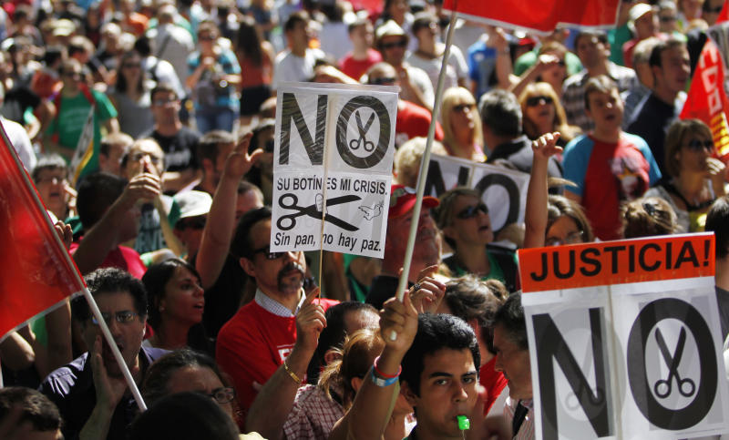 Large anti-austerity protests in Spain, Portugal