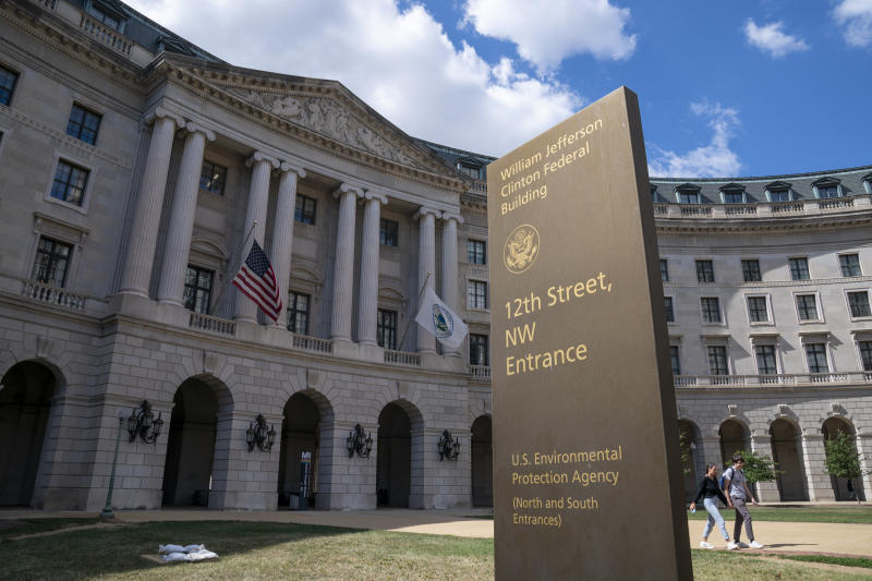 The headquarters of the Environmental Protection Agency is seen in Washington as President Donald Trump announces that his administration is revoking California's authority to set auto mileage standards stricter than those issued by federal regulators, Wednesday, Sept. 18, 2019. Critics say the move would result in less fuel efficient cars that create more planet-warming pollution. (AP Photo/J. Scott Applewhite)