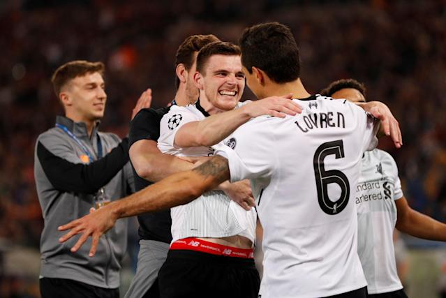 Soccer Football - Champions League Semi Final Second Leg - AS Roma v Liverpool - Stadio Olimpico, Rome, Italy - May 2, 2018 Liverpool's Andrew Robertson and Dejan Lovren celebrate after the match Action Images via Reuters/John Sibley