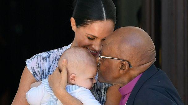 PHOTO: Meghan, Duchess of Sussex, holds her son Archie, while meeting Archbishop Desmond Tutu at the Desmond & Leah Tutu Legacy Foundation in Cape Town, South Africa, Sept. 25, 2019. (REX)