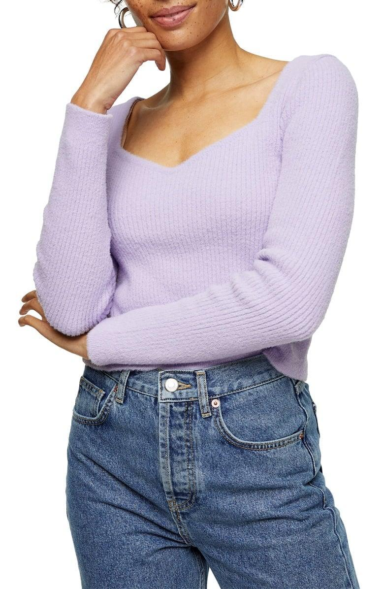 <p>This <span>Topshop Sweetheart Neck Fluffy Sweater</span> ($30, originally $45) is a sexy choice for a night out.</p>