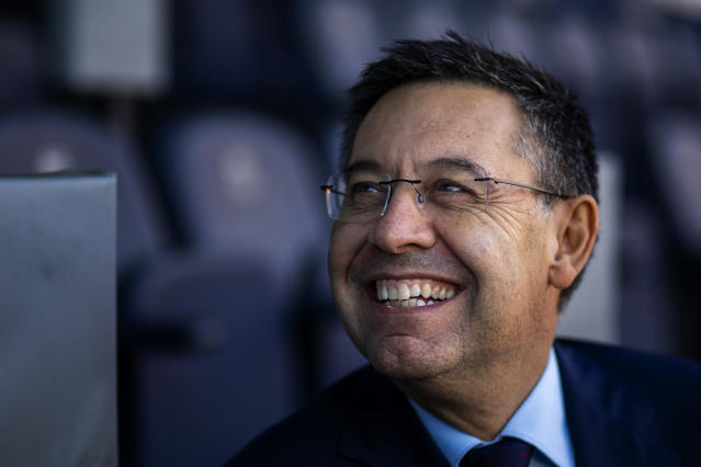 """In this Friday, Nov. 8, 2019, photo, President of FC Barcelona Josep Bartomeu smiles during and interview with the Associated Press at the Camp Nou stadium in Barcelona, Spain. Bartomeu told The Associated Press on Friday that """"we are preparing this post Messi era."""" (AP Photo/Emilio Morenatti)"""
