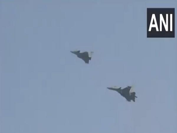 The air display by Sukhoi Su-30 and Rafale at the Hindon airbase on its 89th anniversary of the Indian Air Force (Photo/ANI)