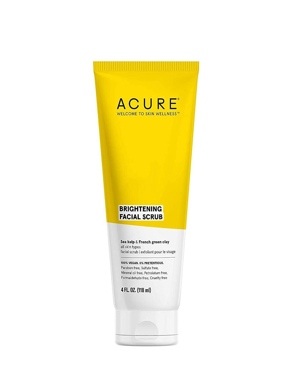 """A combo of lemon peel, French green clay, sea kelp and Madonna lily can exfoliate flaky dead skin cells and unclog your pores to help minimize breakouts.<br /><br /><strong>Promising review:</strong>""""I swear your skin can NOT get any cleaner after using this glorious product.<strong>I even have my boyfriend using it, when he previously just used soap on his face, ugh.</strong>But this exfoliating cleanser is perfection! You can feel an instant difference and no wonder why Allure rated it one of their best and highly reviewed beauty products. You can't lose with this stuff."""" —<a href=""""https://amzn.to/3tNHyxs"""" target=""""_blank"""" rel=""""nofollow noopener noreferrer"""" data-skimlinks-tracking=""""5909265"""" data-vars-affiliate=""""Amazon"""" data-vars-href=""""https://www.amazon.com/gp/customer-reviews/RT3AOGFXBC1SH?tag=bfmelanie-20&ascsubtag=5909265%2C34%2C36%2Cmobile_web%2C0%2C0%2C16567473"""" data-vars-keywords=""""cleaning"""" data-vars-link-id=""""16567473"""" data-vars-price="""""""" data-vars-product-id=""""15937162"""" data-vars-retailers=""""Amazon"""">Brian Shocklee</a><br /><br /><strong>Get it from Amazon for <a href=""""https://amzn.to/32SLXmZ"""" target=""""_blank"""" rel=""""noopener noreferrer"""">$9.50</a>.<br /></strong><i><br /></i>"""