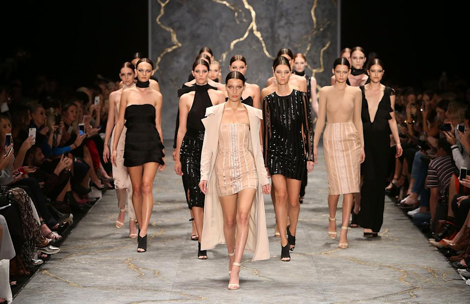 Bella Hadid walks the runway during the Misha Collection show at Mercedes-Benz Fashion Week Resort 17 Collections at Carriageworks on May 16, 2016 in Sydney, Australia.