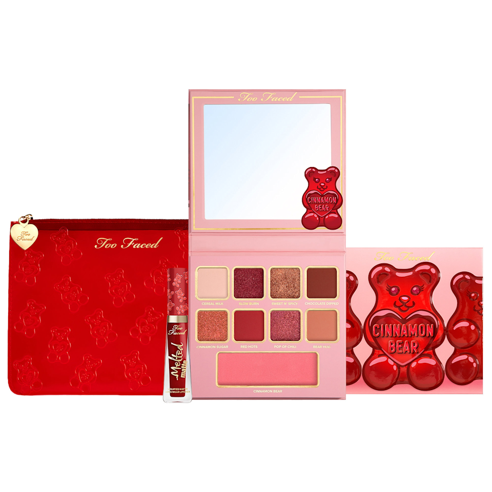 """Too Faced always hits it out of the park when it comes to holiday, and this year is no different. How cute is this palette? $39, Sephora. <a href=""""https://www.sephora.com/product/too-faced-cinnamon-bear-makeup-set-P463360"""" rel=""""nofollow noopener"""" target=""""_blank"""" data-ylk=""""slk:Get it now!"""" class=""""link rapid-noclick-resp"""">Get it now!</a>"""