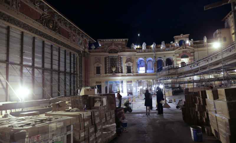 The main interior is seen during renovation work at the Saenger Theater in Downtown New Orleans on Wednesday, May 22, 2013. (AP Photo/Gerald Herbert)