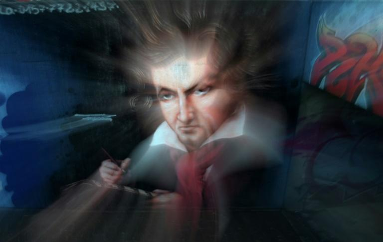 Graffiti depicts German composer Ludwig van Beethoven in his native city of Bonn (AFP Photo/INA FASSBENDER)