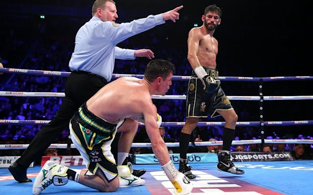 <span>Linares floored Crolla in the seventh round on his way to victory</span> <span>Credit: getty images </span>