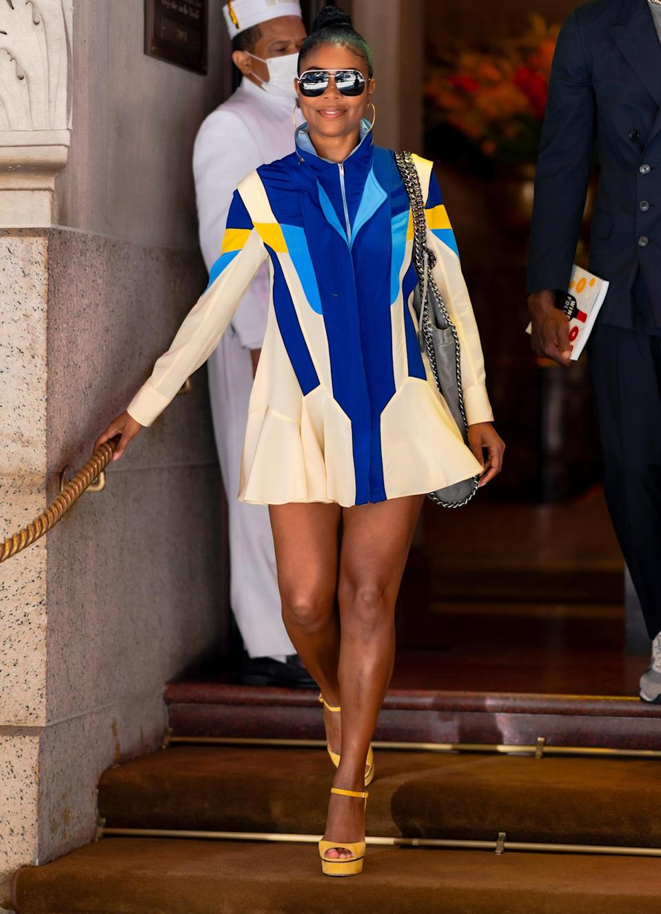 <p>Gabrielle Union makes the sidewalk her catwalk while leaving her N.Y.C. hotel on June 20.</p>