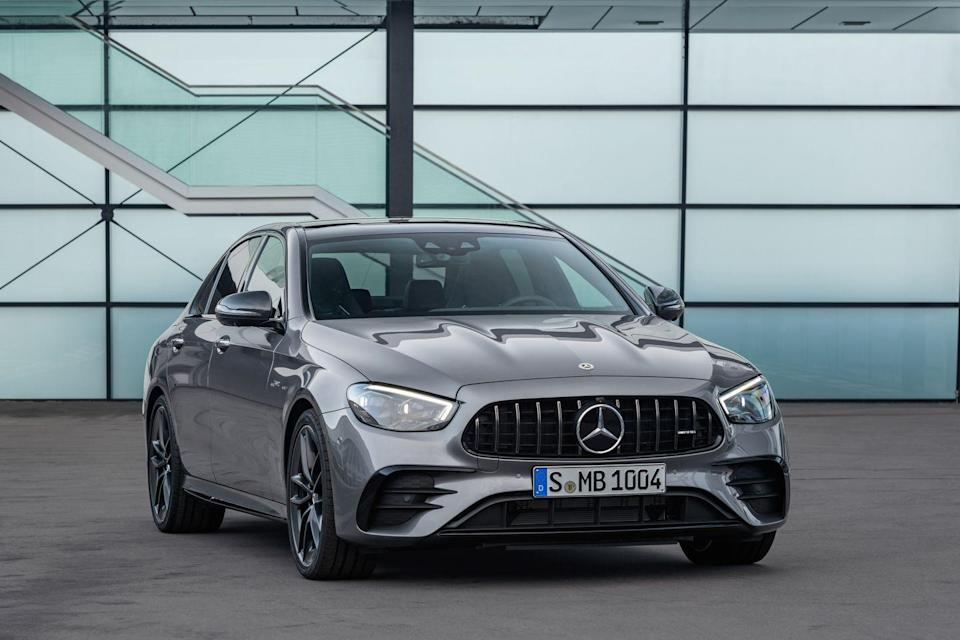 "<p>When the elegant <a href=""https://www.caranddriver.com/mercedes-benz/e-class"" rel=""nofollow noopener"" target=""_blank"" data-ylk=""slk:Mercedes-Benz E-class"" class=""link rapid-noclick-resp"">Mercedes-Benz E-class</a> doesn't offer enough excitement, the <a href=""https://www.caranddriver.com/mercedes-amg/e53"" rel=""nofollow noopener"" target=""_blank"" data-ylk=""slk:2021 AMG-tuned E53"" class=""link rapid-noclick-resp"">2021 AMG-tuned E53</a> fills the void with increased performance and edgier styling. A unique grille and exclusive exterior details help separate its sedan, cabriolet, and coupe body styles from their more pedestrian counterparts. A 429-hp turbocharged six-cylinder powertrain and standard all-wheel drive deliver all-weather traction and zealous acceleration. Of course, the E53 family also maintains Mercedes' luxury pedigree with an eye-catching cabin that boasts cutting-edge technology and upscale materials. In a class brimming with talented competitors, the 2021 Mercedes-AMG E53 ranks among the most remarkable.</p><p><a class=""link rapid-noclick-resp"" href=""https://www.caranddriver.com/mercedes-amg/e53"" rel=""nofollow noopener"" target=""_blank"" data-ylk=""slk:Review, Pricing, and Specs"">Review, Pricing, and Specs</a></p>"