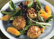 """The crushed coriander forms a crispy scallop crust, and orange juice concentrate makes life easy. <a href=""""https://www.bonappetit.com/recipe/coriander-scallops-with-orange-ginger-dressing?mbid=synd_yahoo_rss"""" rel=""""nofollow noopener"""" target=""""_blank"""" data-ylk=""""slk:See recipe."""" class=""""link rapid-noclick-resp"""">See recipe.</a>"""