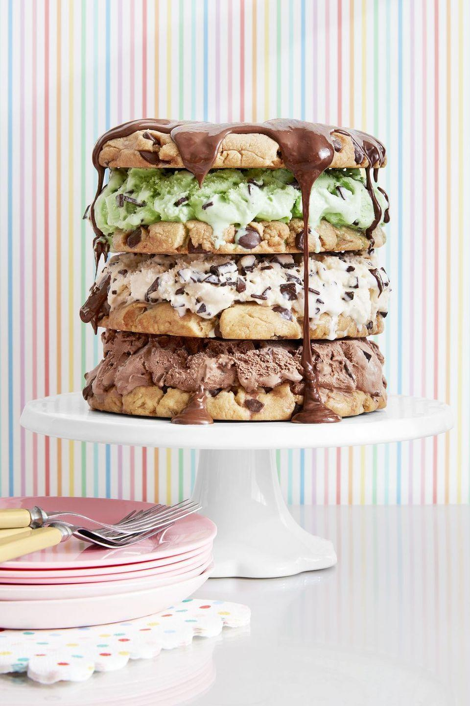 """<p><a href=""""https://nationaldaycalendar.com/national-ice-cream-cake-day-june-27/"""" rel=""""nofollow noopener"""" target=""""_blank"""" data-ylk=""""slk:National Ice Cream Cake Day"""" class=""""link rapid-noclick-resp"""">National Ice Cream Cake Day</a> also falls in June, so double the celebrations with a towering ice cream sandwich """"cake.""""</p><p><strong><em><a href=""""https://www.womansday.com/food-recipes/a32883539/chocolate-chip-triple-decker-recipe/"""" rel=""""nofollow noopener"""" target=""""_blank"""" data-ylk=""""slk:Get the Chocolate Chip Triple-Decker Ice Cream Cake recipe."""" class=""""link rapid-noclick-resp"""">Get the Chocolate Chip Triple-Decker Ice Cream Cake recipe.</a></em></strong></p>"""