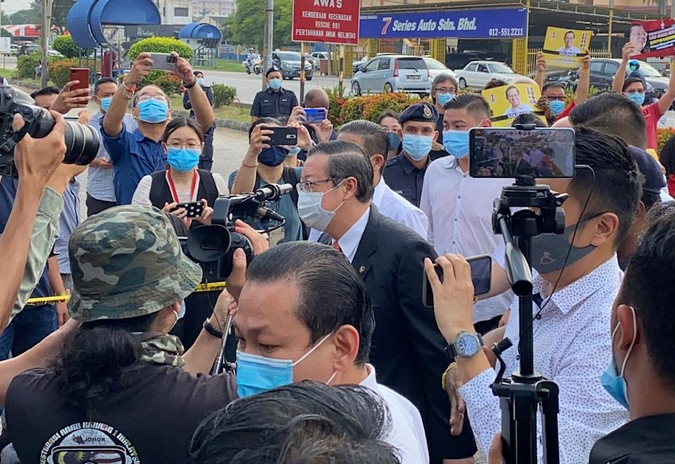 Former Penang chief minister Lim Guan Eng arrives at the Butterworth courthouse August 11, 2020. — Picture by Steven KE Ooi