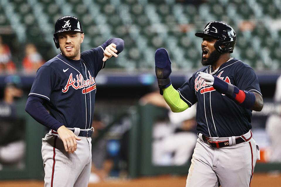 The Braves are headed to the NLCS for the first time since 2001 after sweeping the Marlins. (Photo by Elsa/Getty Images)