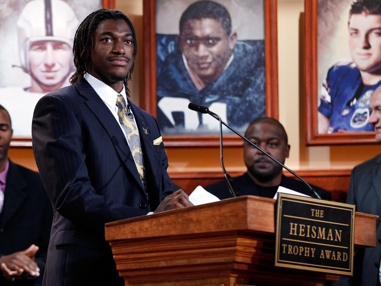 NEW YORK, NY - DECEMBER 10:  (EDITORIAL USE ONLY THROUGH DECEMBER 15, 2011, NO ARCHIVE, NO SALES) In this handout provided by the Heisman Trophy Trust. Robert Griffin III of the Baylor Bears speaks on stage after being named the 77th Heisman Memorial Trophy Award winner at the Best Buy Theater on December 10, 2011 in New York City.  (Photo by Kelly Kline/Heisman Trophy Trust via Getty Images)