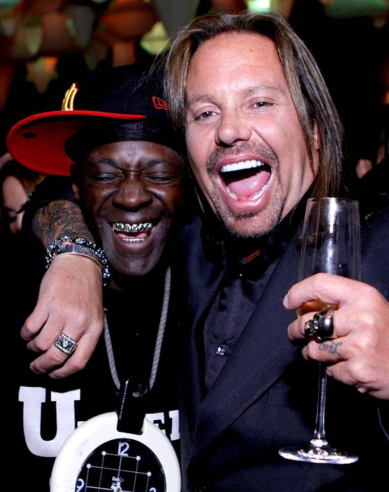 "Perhaps Flavor Flav and Vince swapped stories about serving time in jail, something Vince will do again later this month. The middle-aged celeb is scheduled to spend 15 days in the slammer for a DUI he was arrested for in Sin City last summer. Do you think Vince will ever learn his lesson? Jacob Andrzejczak/<a href=""http://www.wireimage.com"" target=""new"">WireImage.com</a> - February 5, 2011"