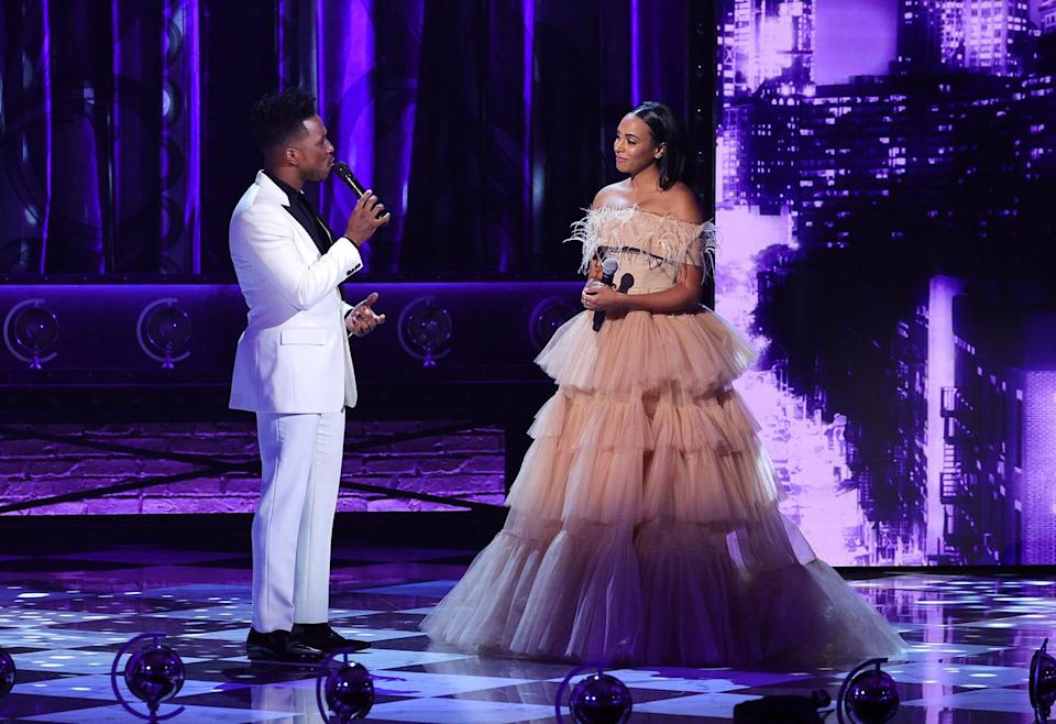 """<p>Married Broadway stars <a href=""""https://ew.com/tag/leslie-odom-jr/"""" rel=""""nofollow noopener"""" target=""""_blank"""" data-ylk=""""slk:Leslie Odom Jr."""" class=""""link rapid-noclick-resp"""">Leslie Odom Jr.</a> (who hosted the second half of the ceremony) and Nicolette Robinson turned up the heat late in the show with a sweet and smoldering duet on """"You Matter to Me"""" from <a href=""""https://ew.com/creative-work/waitress-broadway/"""" rel=""""nofollow noopener"""" target=""""_blank"""" data-ylk=""""slk:Waitress"""" class=""""link rapid-noclick-resp""""><em>Waitress</em></a>. (Robinson played the lead role of Jenna on Broadway in 2018.) Coming after a duet between Odom and <a href=""""https://ew.com/tag/josh-groban/"""" rel=""""nofollow noopener"""" target=""""_blank"""" data-ylk=""""slk:Josh Groban"""" class=""""link rapid-noclick-resp"""">Josh Groban</a>, it was proof, once again, that the erstwhile <a href=""""https://ew.com/creative-work/hamilton/"""" rel=""""nofollow noopener"""" target=""""_blank"""" data-ylk=""""slk:Hamilton"""" class=""""link rapid-noclick-resp""""><em>Hamilton</em></a> star is one of our finest crooners, and that he and Robinson are a true Broadway power couple. <em>And</em> it functioned as a perfect lead-in to...</p>"""