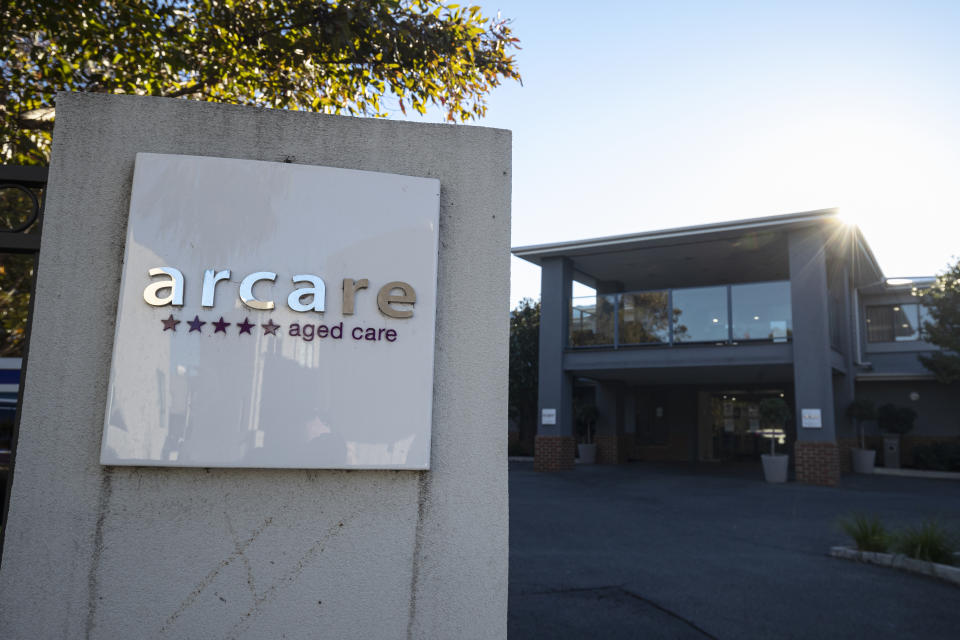 Signage for Arcare Aged Care facility in Maidstone is seen, in Melbourne, Monday, May 31.