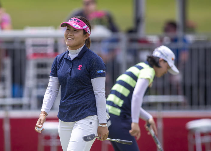 Nasa Hataoka reacts on the 18th hole during the first round of the Meijer LPGA Classic golf tournament at the Blythefield Country Club in Belmont, Mich., Thursday, June 17, 2021. (Cory Morse/The Grand Rapids Press via AP)