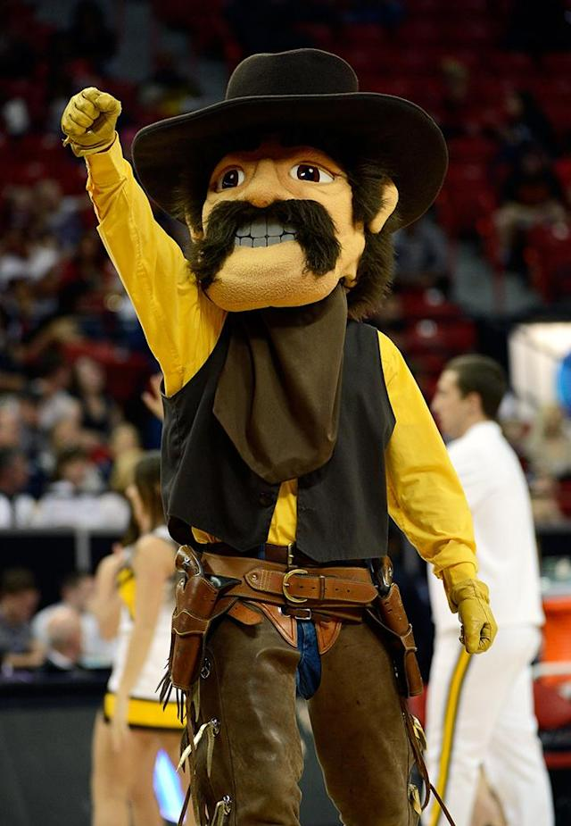 Wyoming Cowboys mascot Pistol Pete appears on court during the first round game of the Reese's Mountain West Conference Basketball tournament against the Nevada Wolf Pack at the Thomas & Mack Center on March 12, 2013 in Las Vegas, Nevada. (Photo by Jeff Bottari/Getty Images)