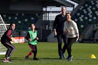 """William warned his wife """"goes for the ankles,"""" during a football match at Windsor Park, Belfast in February 2019.<em> [Photo: Getty]</em>"""