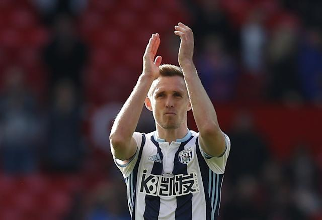 <p>West Bromwich Albion's Darren Fletcher applauds fans after the match </p>