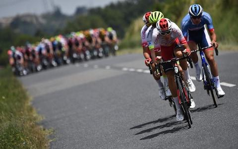<span>Lilian Calmejane, Stéphane Rossetto, Anthony Perez and Aimé De Gendt wasted little time in forming a four-man breakaway</span> <span>Credit: Getty Images </span>