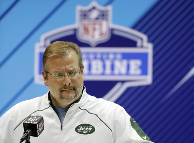 <p> FILE - In this Feb. 28, 2018, file photo, New York Jets general manager Mike Maccagnan speaks during a press conference at the NFL football scouting combine in Indianapolis. The Jets have acquired the No. 3 overall pick in the NFL draft from the Indianapolis Colts on Saturday, March 17, 2018,, moving up three spots in a sign that they intend to get one of the top quarterbacks available. The Jets are sending the Colts their first-rounder, No. 6 overall ,along with two second-rounders this year and a second-rounder next year to complete the massive deal. (AP Photo/Darron Cummings, File( </p>