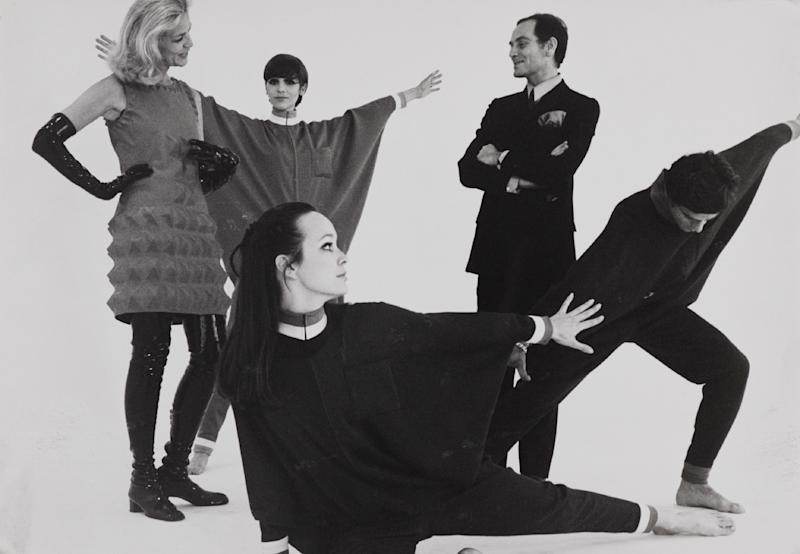 Pierre Cardin and Lauren Bacall with models on the set of Bacall and the Boys, 1968.
