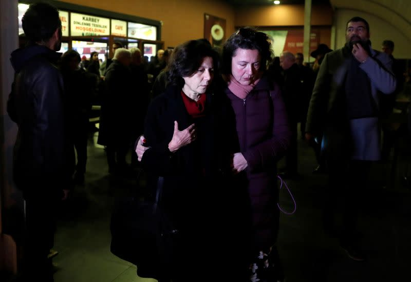 Ayse Bugra, wife of Osman Kavala, Turkish businessman and philanthropist, leaves the restaurant after learning that Istanbul prosecutor's office demanded the detention of her husband, in Silivri