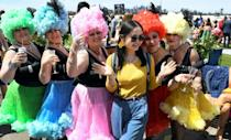 Colourful dress is normally the order of the day at the Melbourne Cup, but this year's race will be behind closed doors