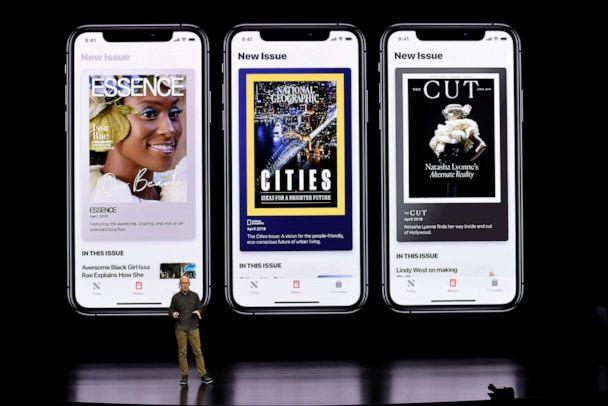 PHOTO: Roger Rosner, vice president of applications at Apple Inc., speaks during the launch of their new video streaming service, and unveiled a premium subscription tier to its News app, March 25, 2019, in Cupertino, Calif. (Michael Short/Getty Images)