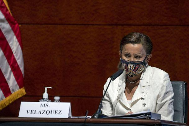 PHOTO: Rep. Nydia Velazquez, D- N.Y., asks questions during a House Financial Services Committee hearing on the coronavirus response on Capitol Hill, June 30, 2020. (Tasos Katopodis/AP)
